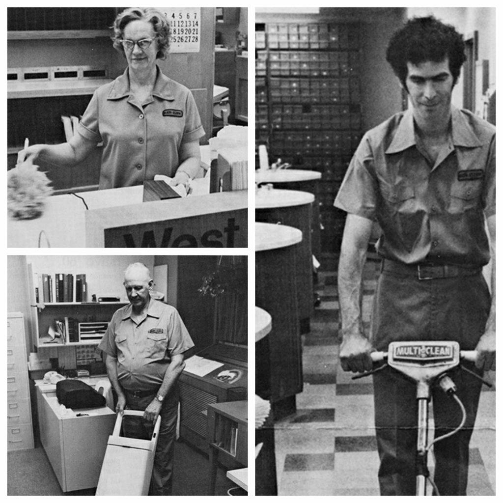 1981 photos of custodians Betty Shaw, Harold Walker and Mike Hlohinec at work