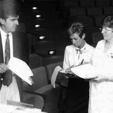 a 1990 photo of Abdul Bengali training Arlis Borgstrom and Marilyn Formichella on I-NET