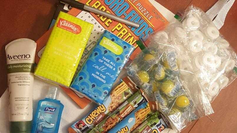 gift bag supplies on a table