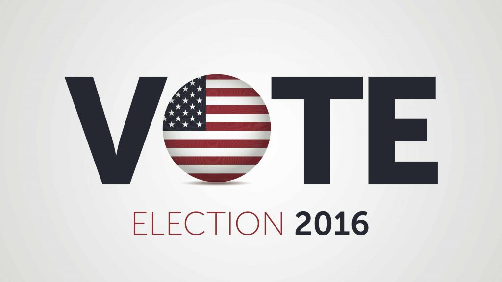 """Graphic with the word Vote with the American Flag as the """"O"""" and the words election 2016"""