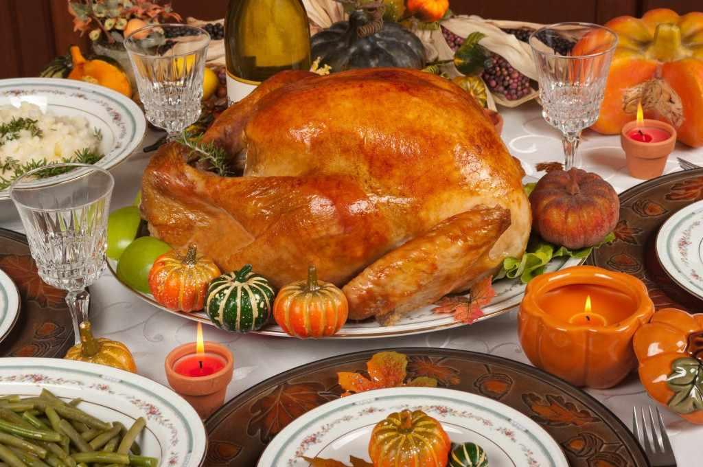 turkey dinner table set for Thanksgiving meal