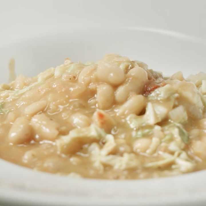 a bowl of white bean escarole soup