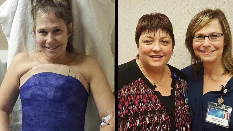 nurse jackie in body cast in hospital bed and with friend