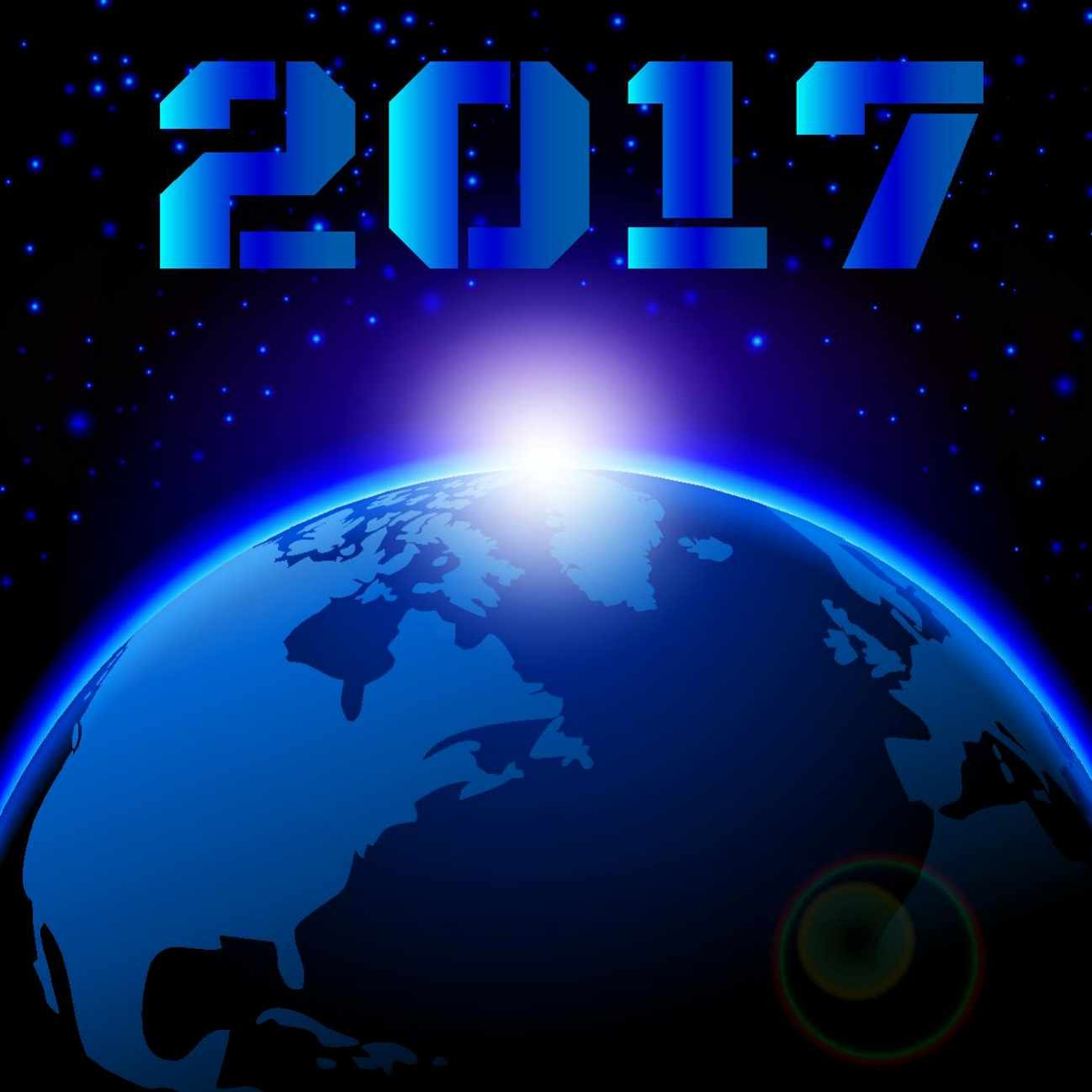a globe with nightsky background and 2017 written above