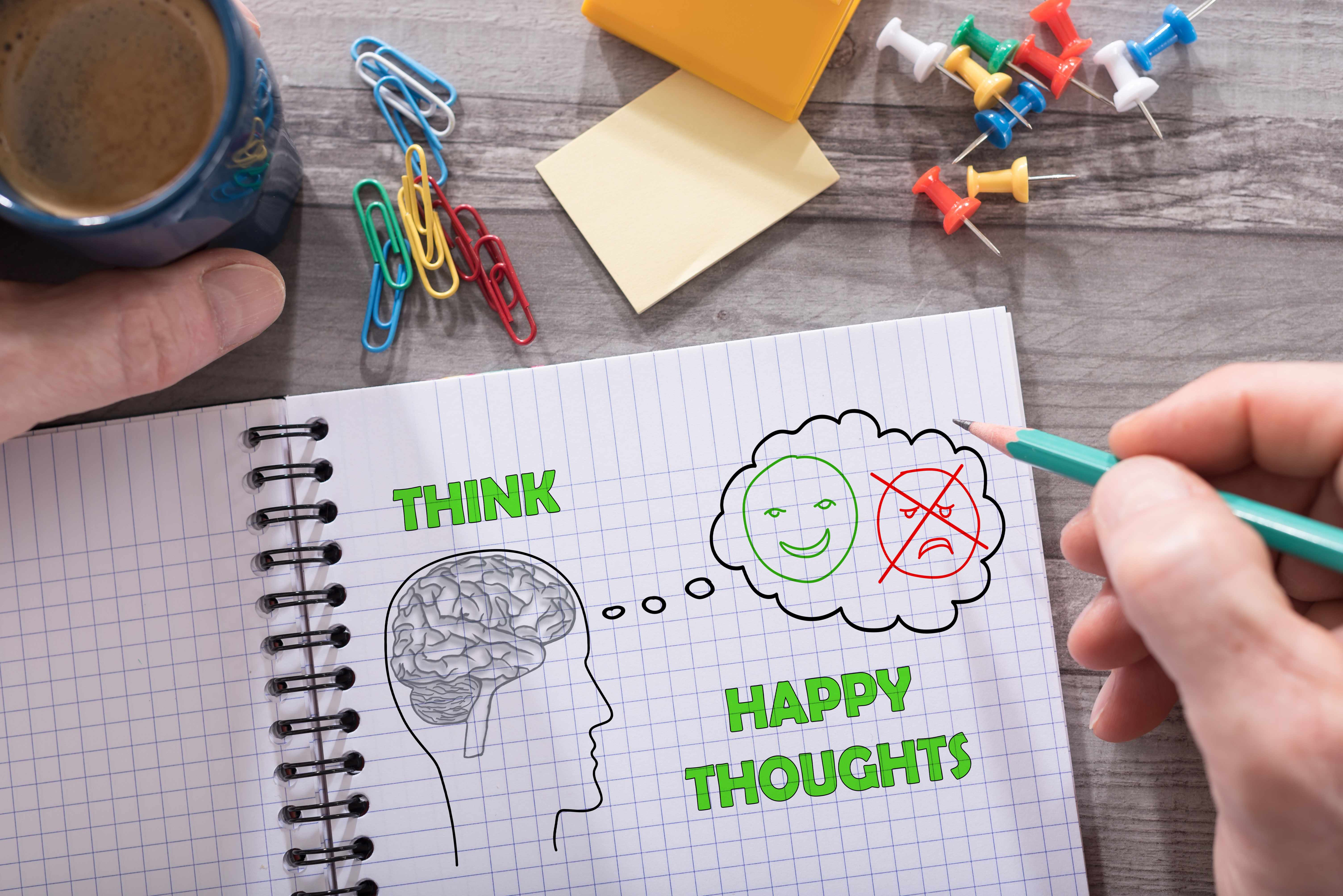a notebook paper with a drawing of a human head and brain with writing to think happy thoughts