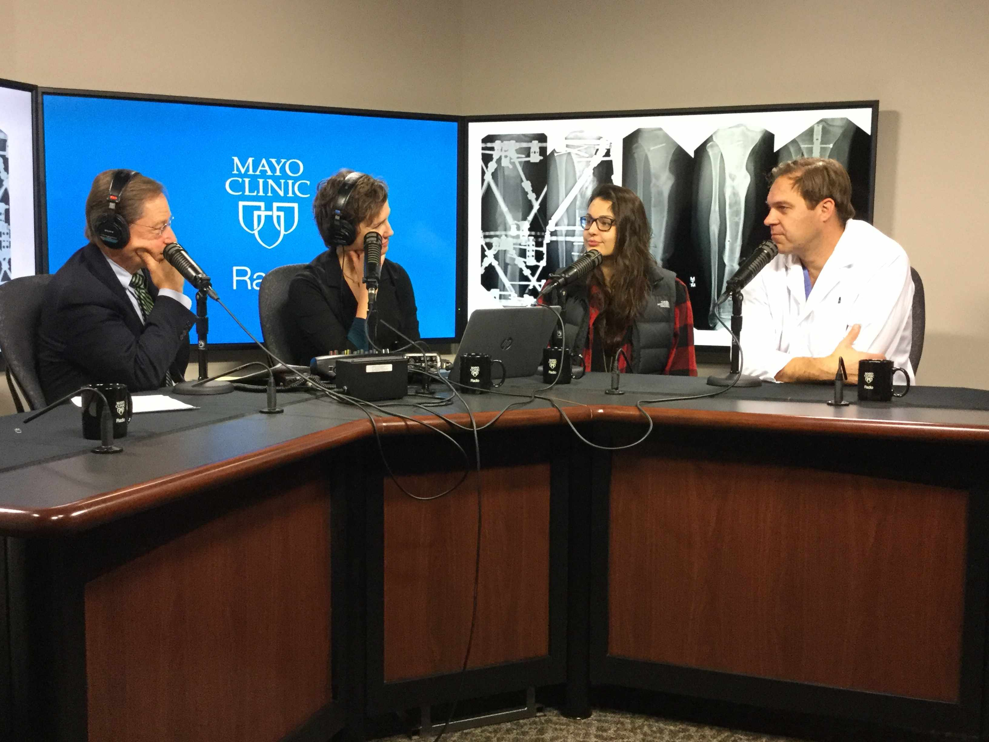 Dr. Andy Sems and Jessica Nelson being interviewed on Mayo Clinic Radio