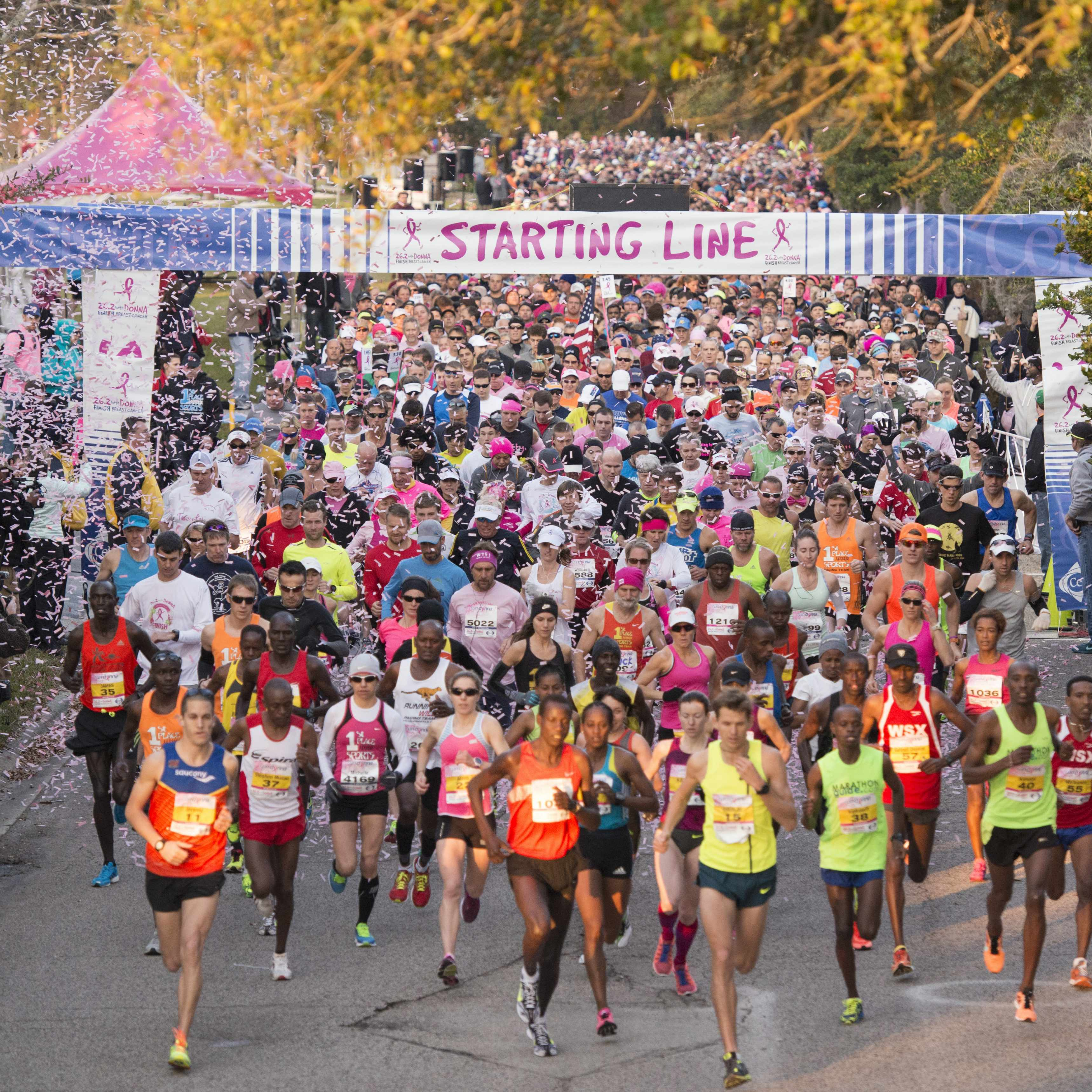 runners at the starting line in the Donna Breast Cancer Marathon