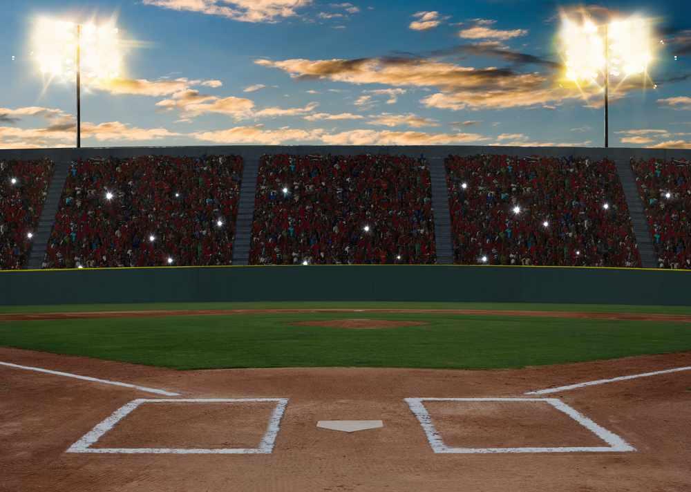 Baseball stadium at sunset