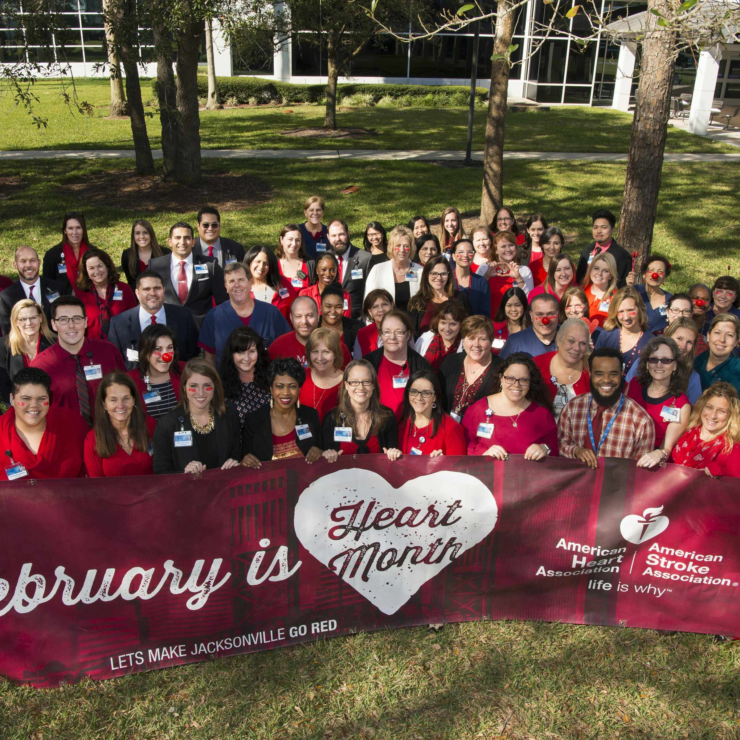Mayo Clinic staff pose for a picture to recognize 2017 National Wear Red Day