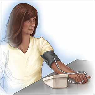 a medical illlustration of a woman checking her own blood pressure using an automatic monitor