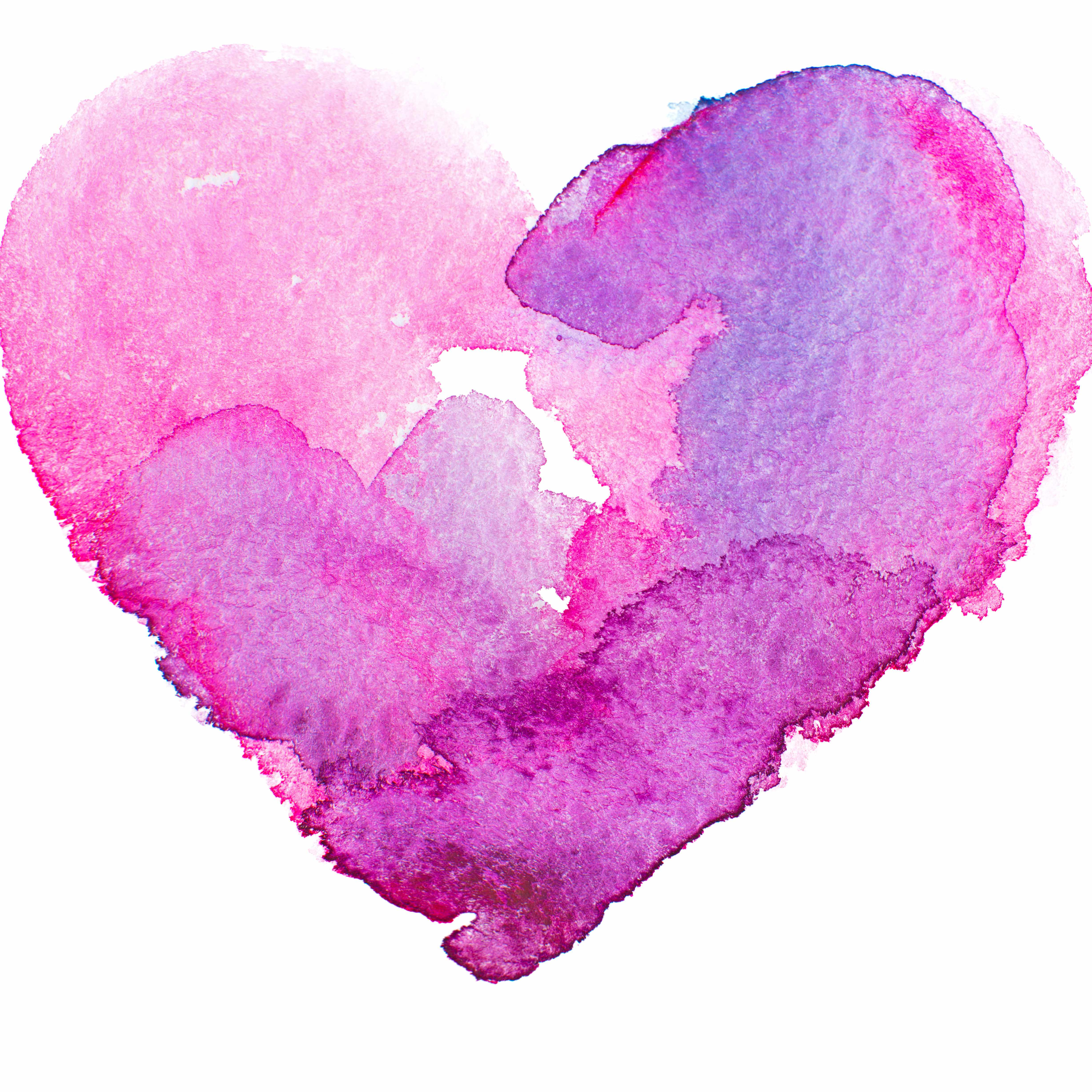 a watercolor graphic of a heart in pinks and purples