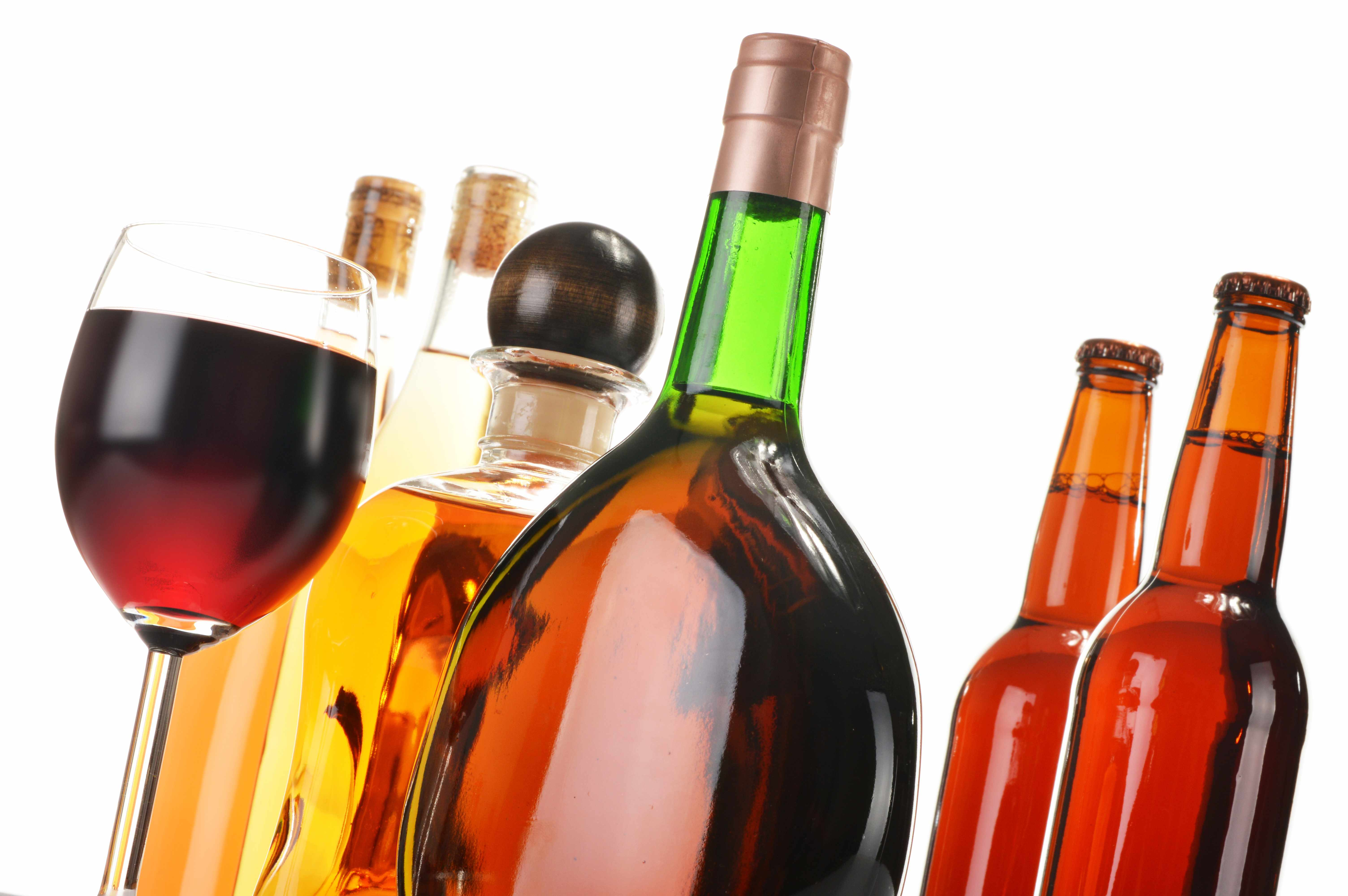 various alcoholic beverages including wine and beer