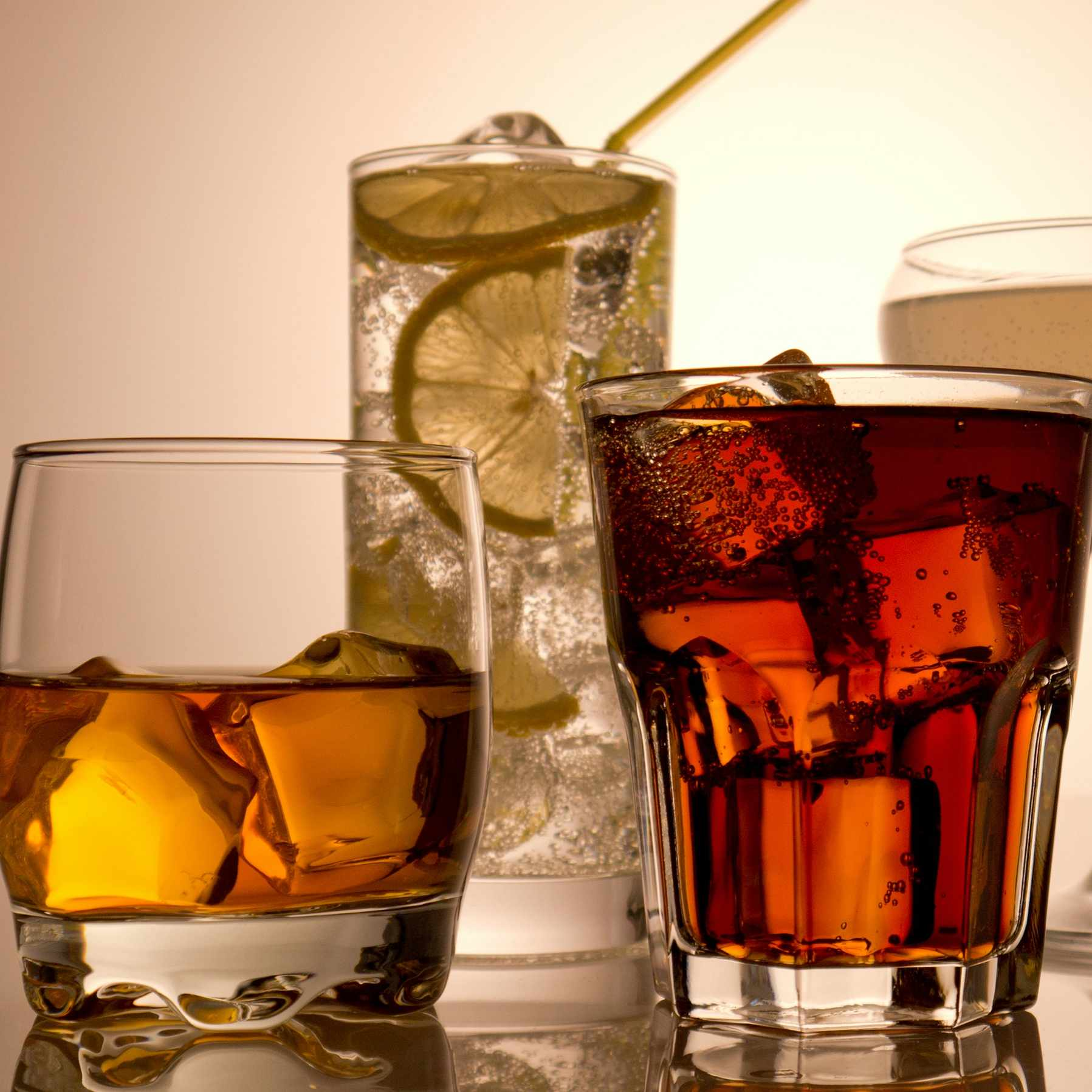 various mixed drinks, alcoholic beverages in different glasses