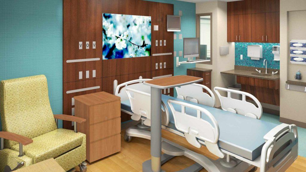 Muestra de una habitación de paciente modernizada en la Torre Este del campus de Saint Marys