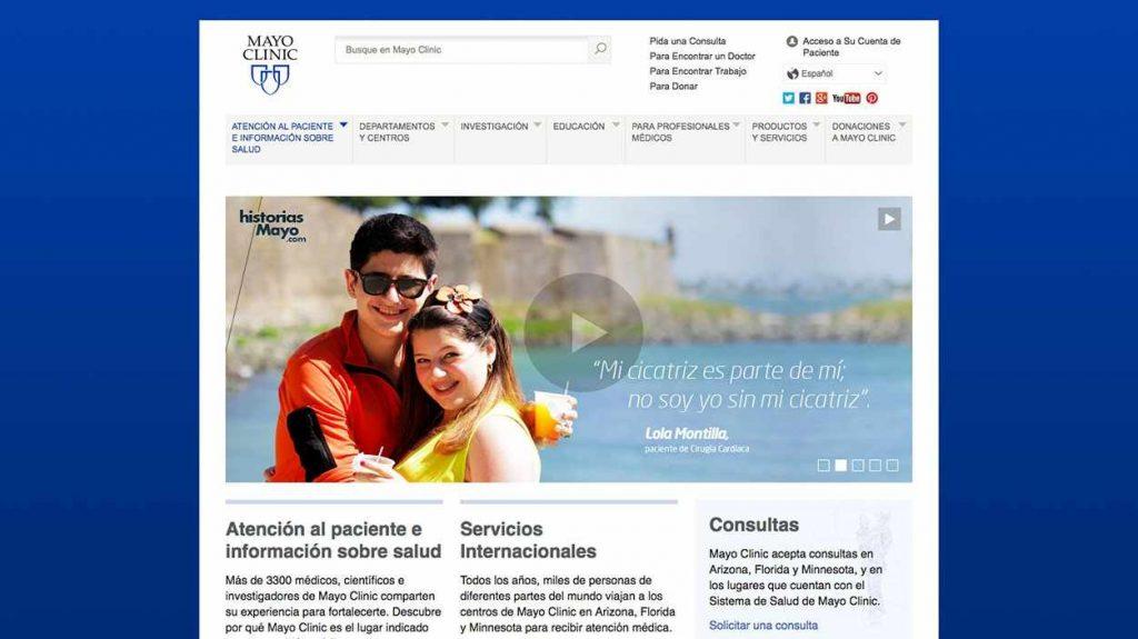 Captura de pantalla del sitio web de Mayo Clinic en español