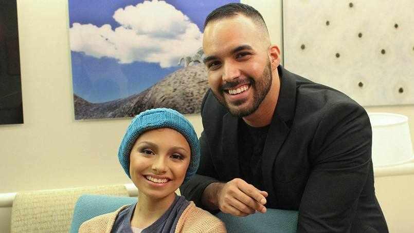 makeup artist, Adrian Rios with cancer patient Clarissa