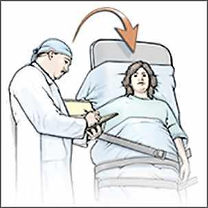 a medical illustration of a tilt table test for diagnosing POTS