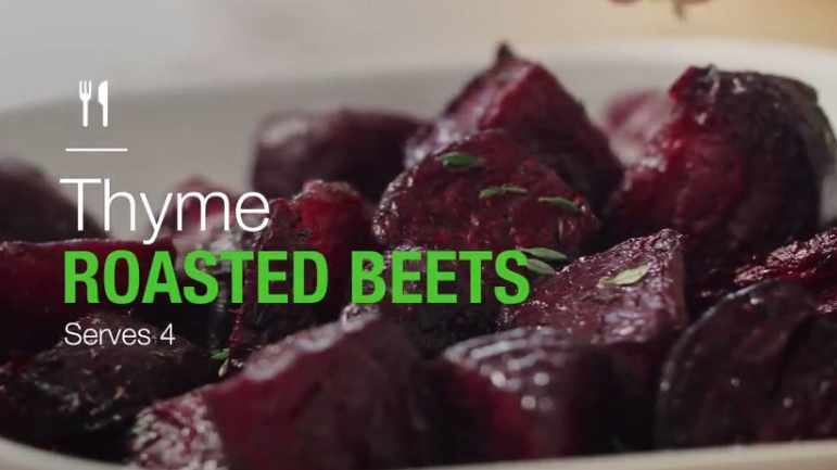 close up of thyme roasted beets