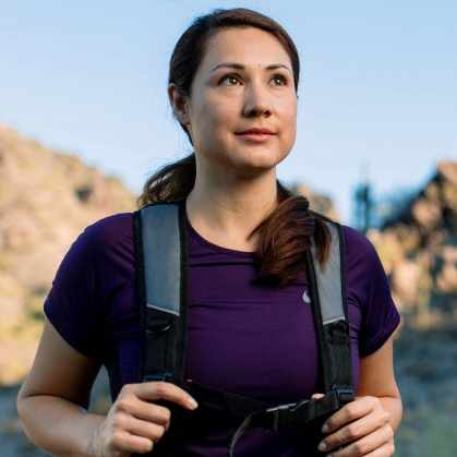transplant patient walking in the mountains on a journey