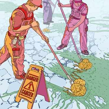 Discovery's Edge illustration of workers scrubbing a road and 'cleaning up' cancer