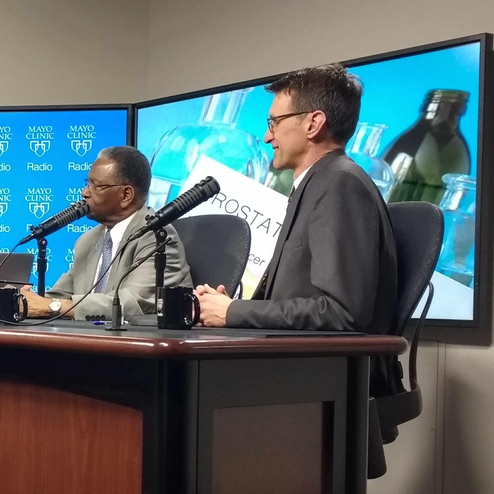 Dr. Jon Tilburt and Ret. Col. Jim Williams being interviewed on Mayo Clinic Radio