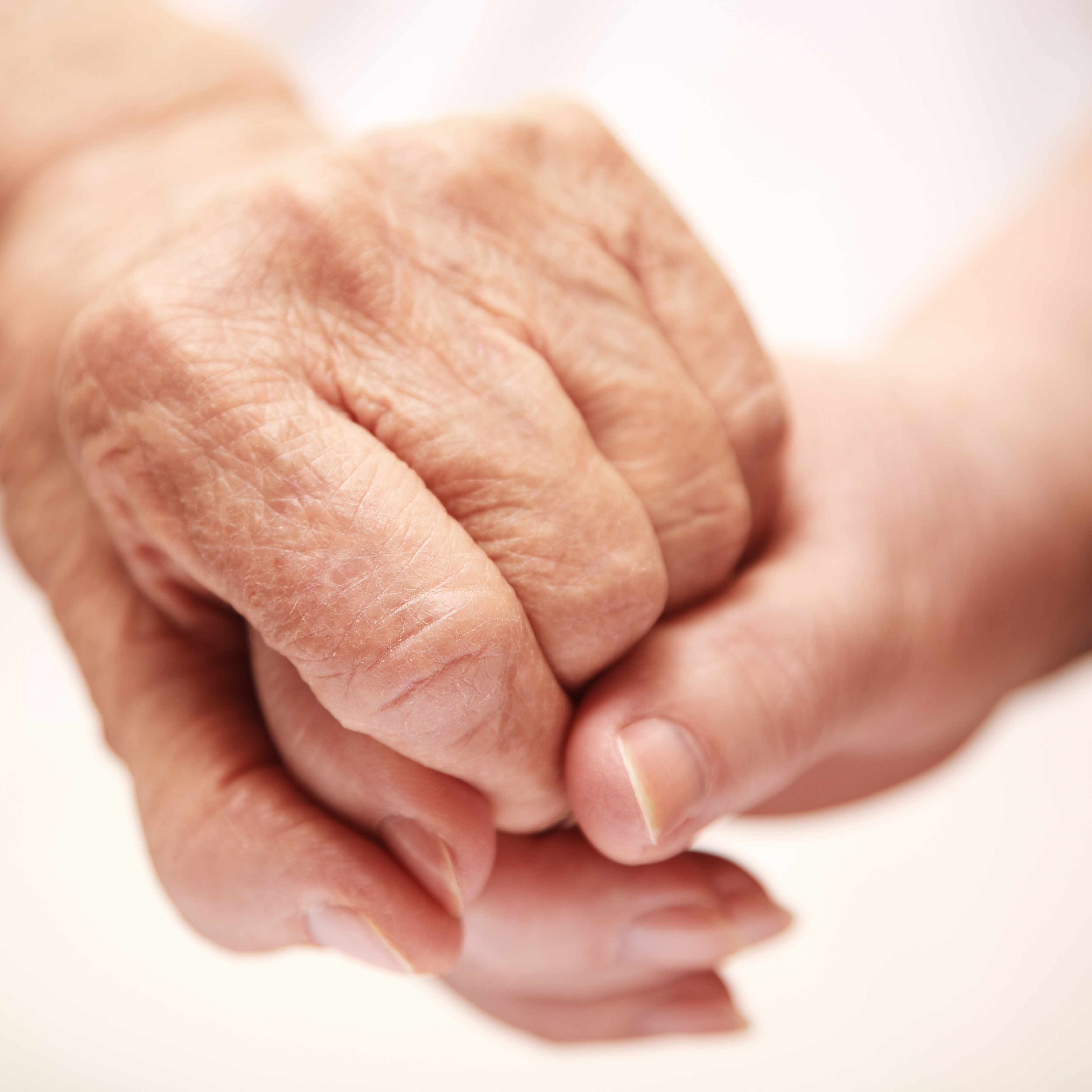 a close-up of two hands clasped, one older and one younger