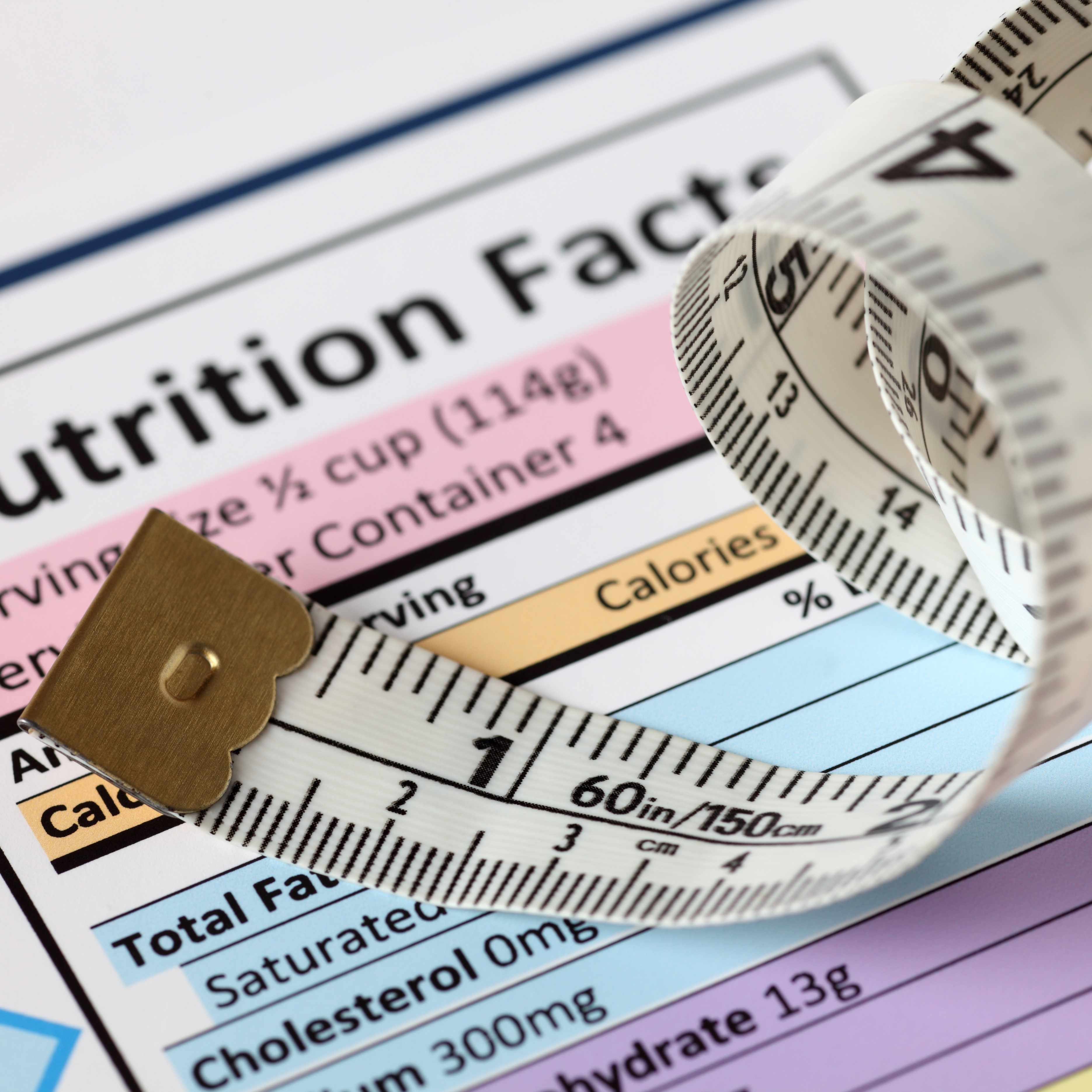 a food nutrituion label with a measuring tape beside it