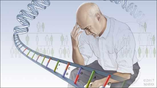 Ilustración médica de un hombre preocupado o deprimido, rodeado por una hebra de ADN y con un árbol genealógico en el trasfondo