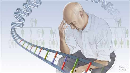 a medical illustration of a worried or depressed man surrounded by a strand of DNA and a family tree