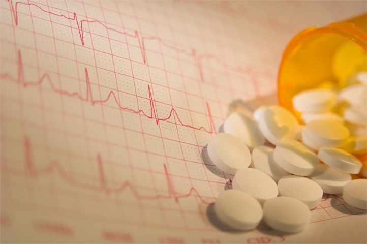 heart rate graph and prescription pills