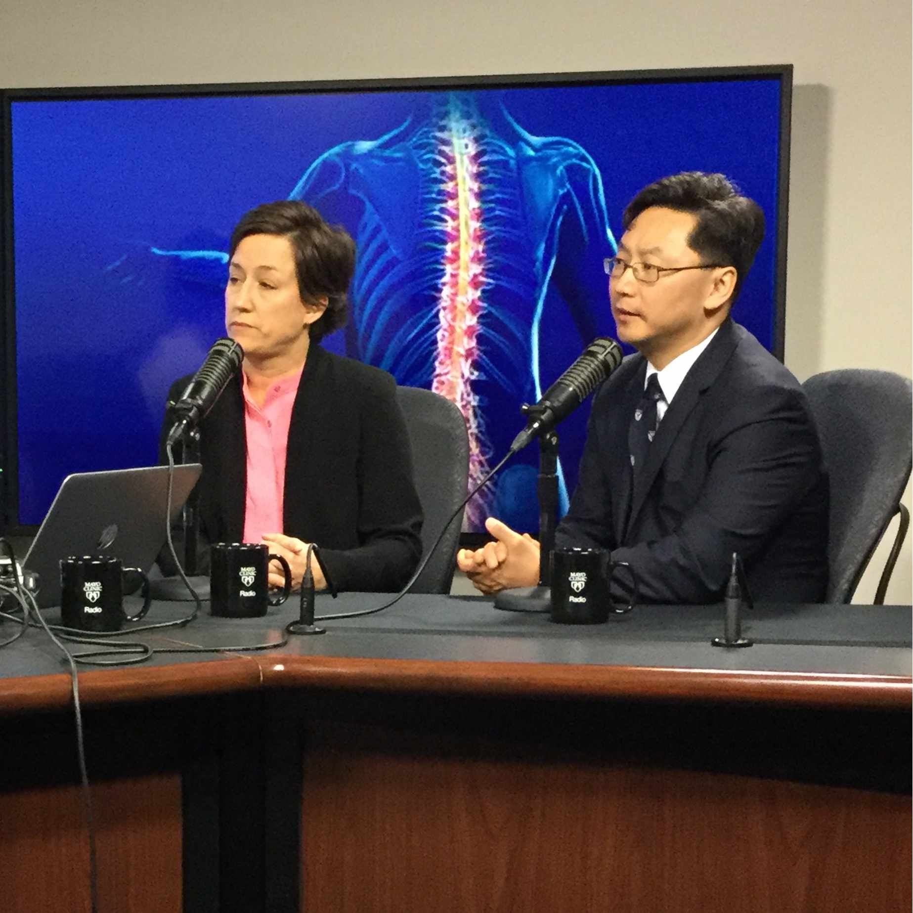 Dr. Kendall Lee and Dr. Kristin Zhao being interviewed on Mayo Clinic Radio
