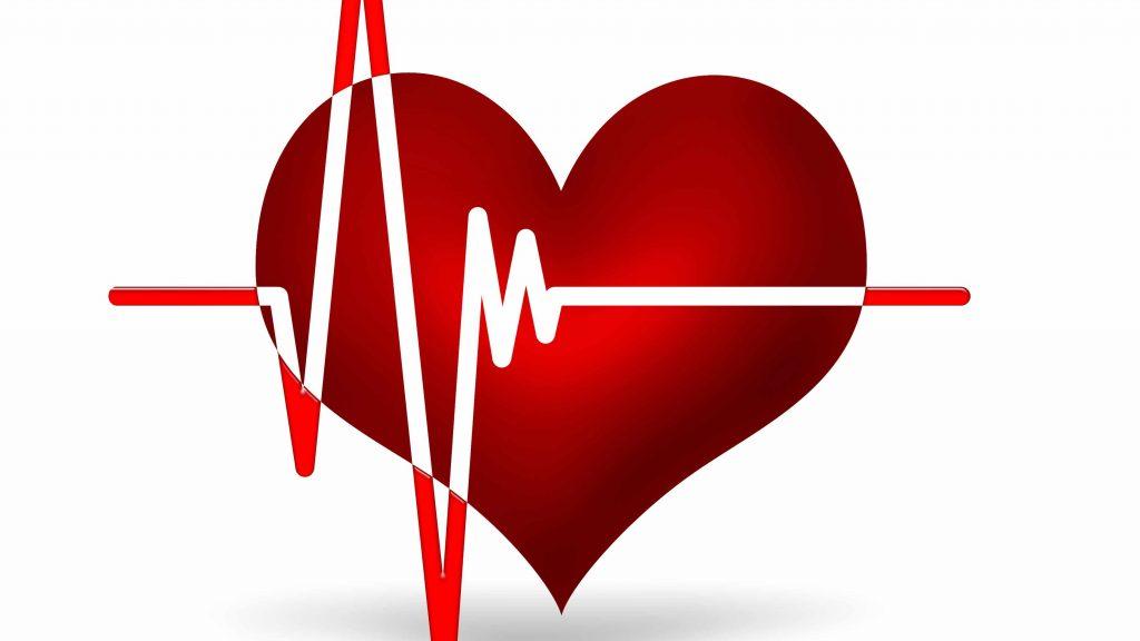 Gráfico de un corazón y su actividad en el electrocardiograma