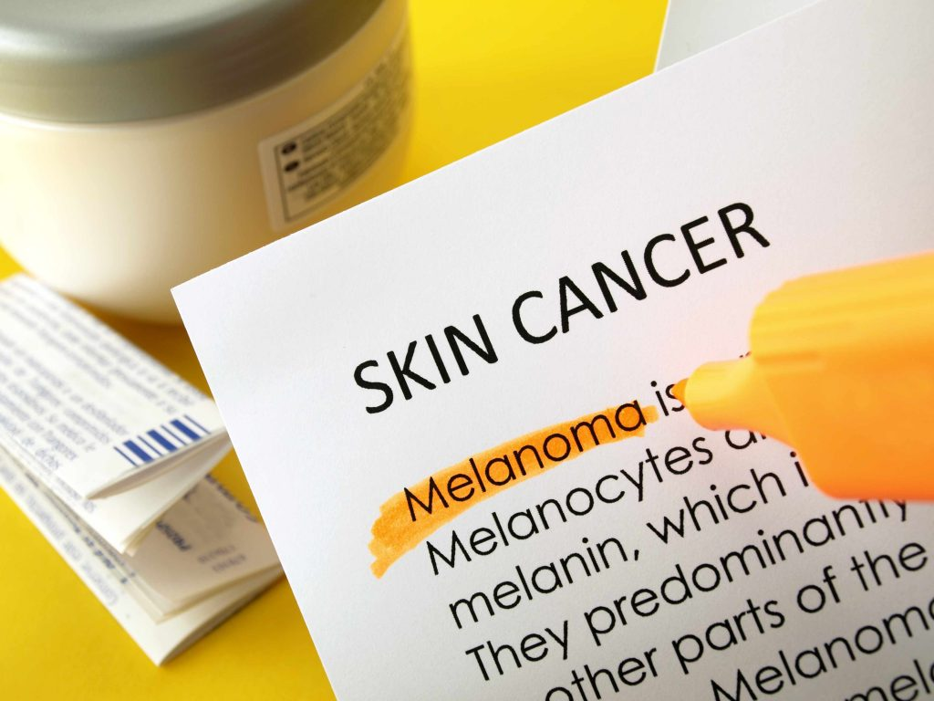 The word skin cancer with melanoma highlighted.
