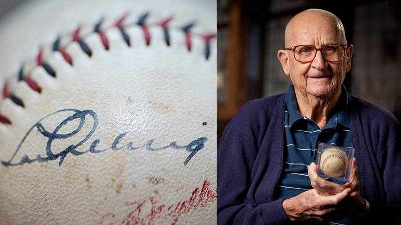 Bob Tierney holding the signed Lou Gehrig baseball