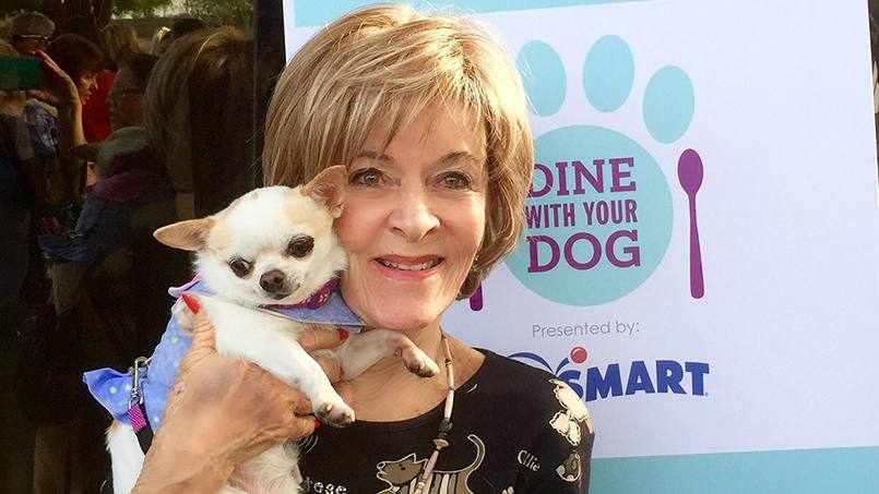 cancer patient Nancy Sills holding her dog