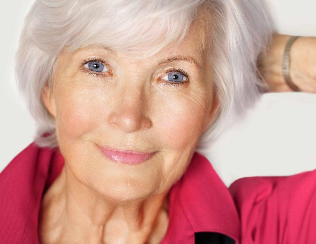closeup of happy smiling older woman