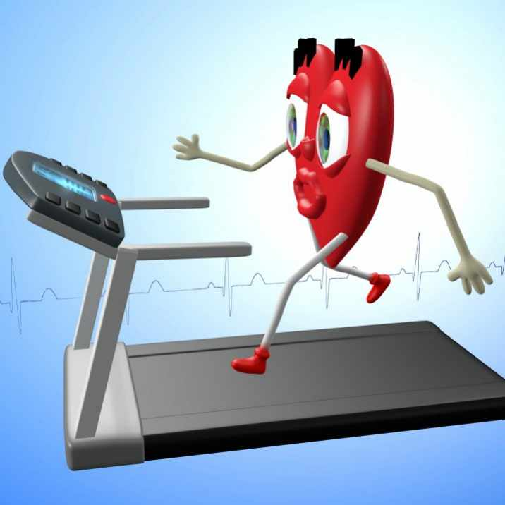 Heart character exercising on treadmill