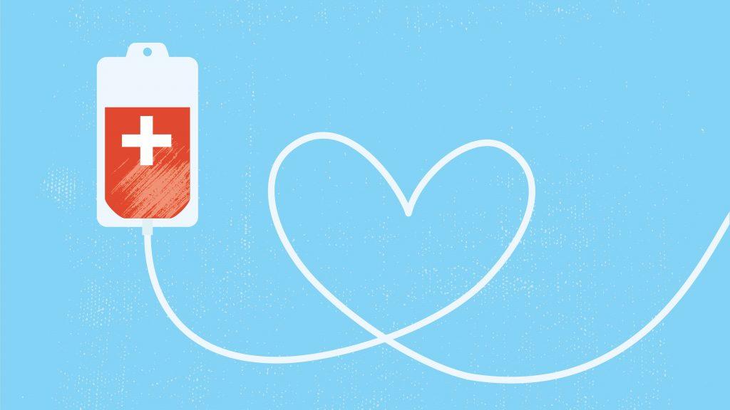 Una ilustración gráfica de una bolsa de sangre donada, con el tubo formando un corazón