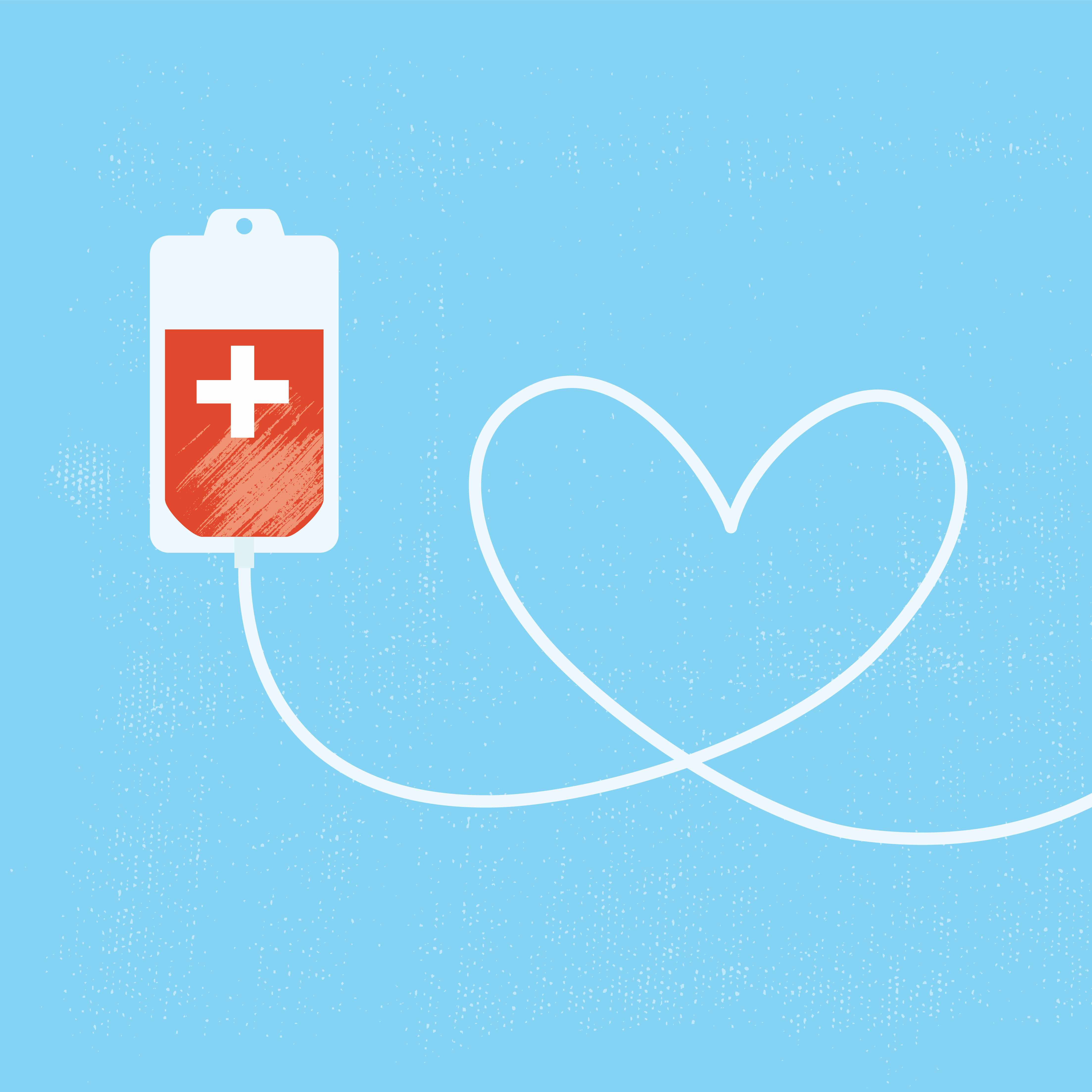 a graphic illustration of a bag of donated blood, with the tubing forming a valentine heart
