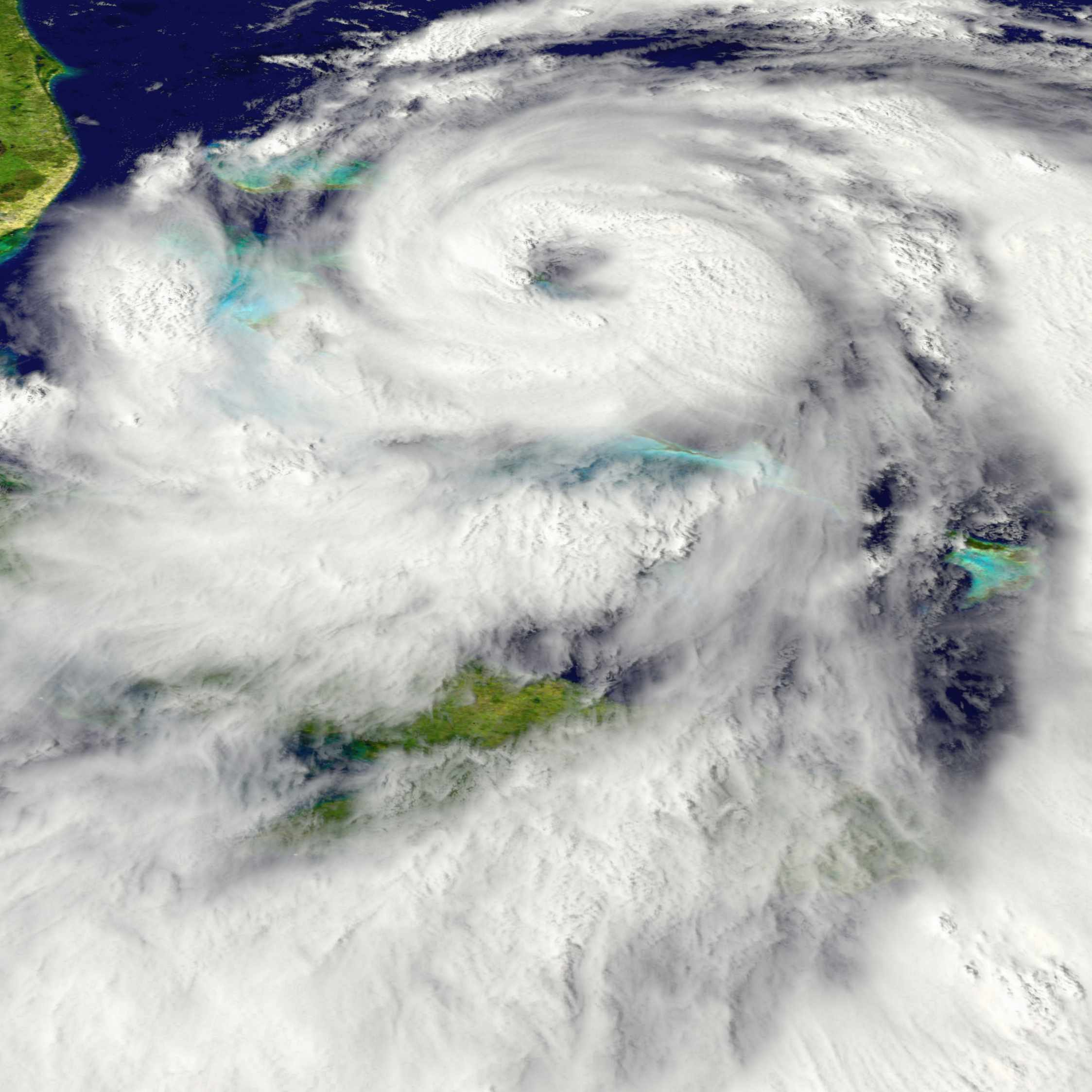 large hurricane storm in the Atlantic Ocean off the coast of Florida