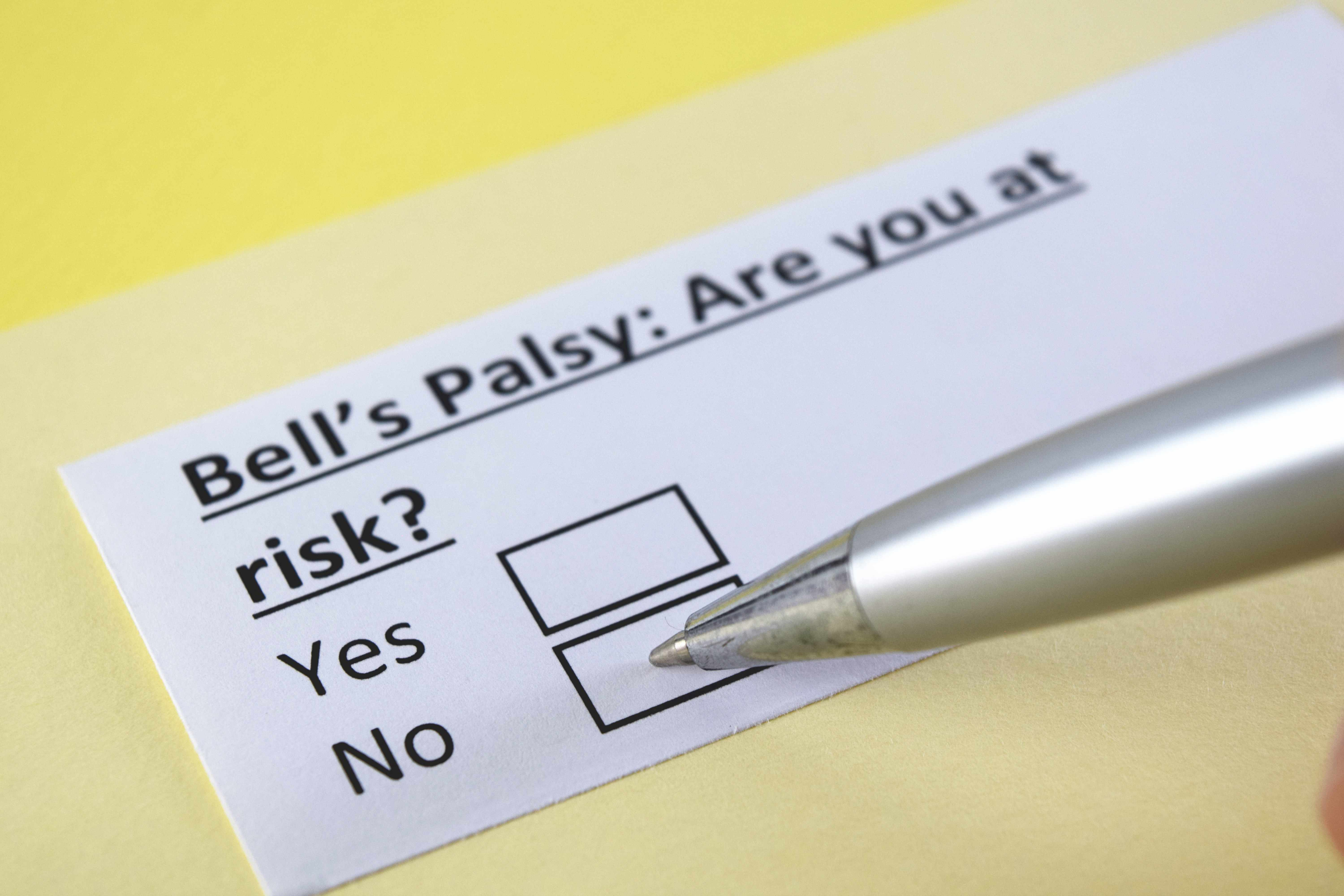 a medical chart with words that ask about Bell's palsy risk