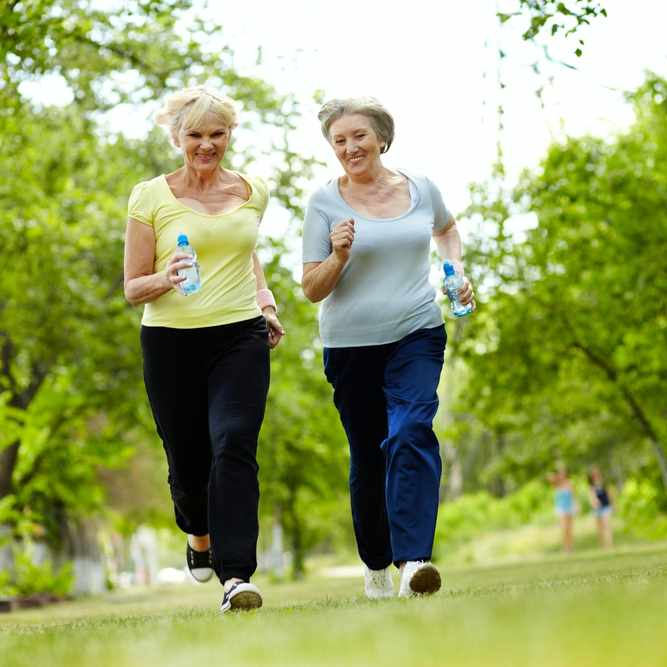 two middle-aged or senior women walking and exercising outside in a park