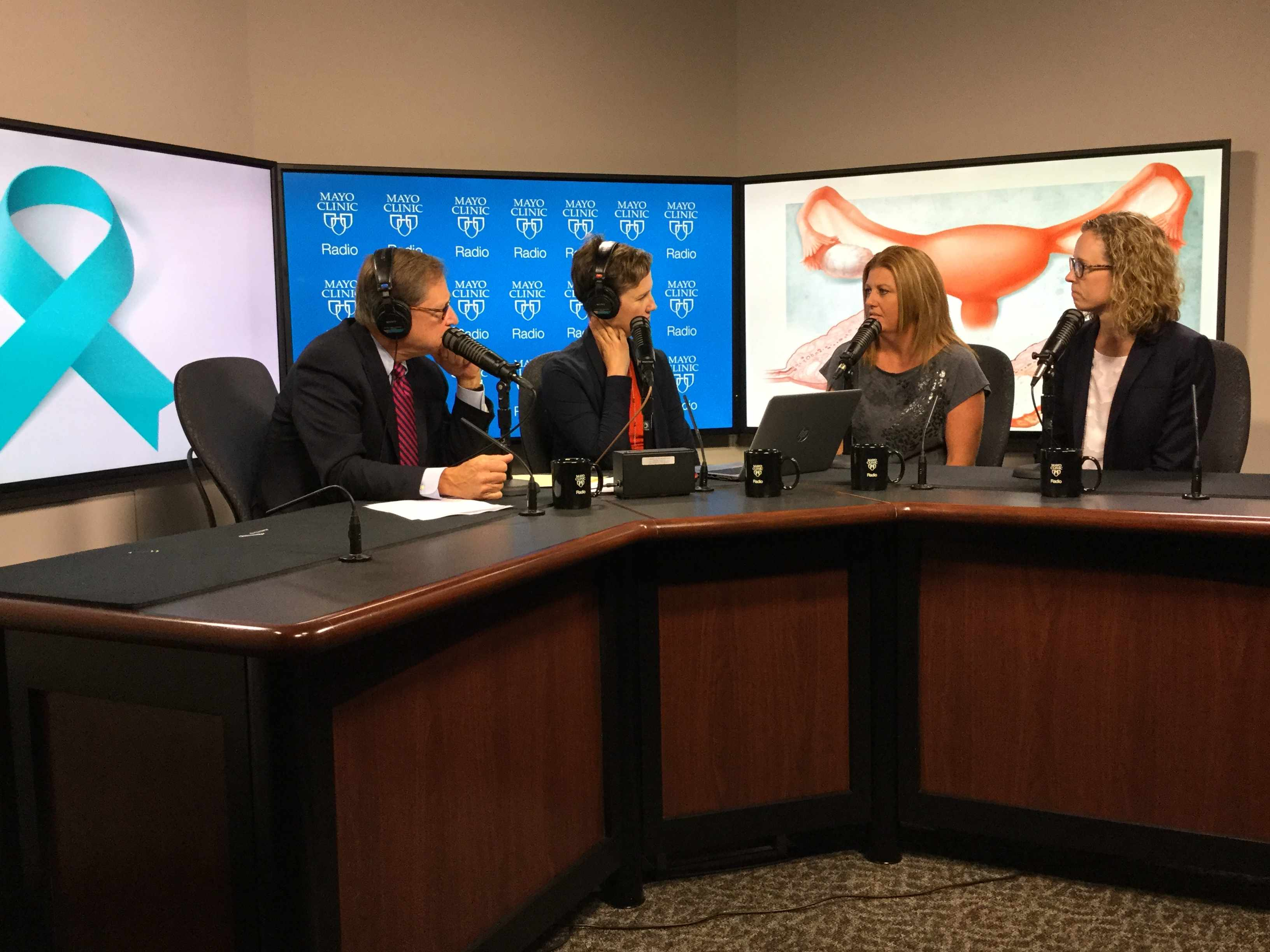 Dr. Carrie Langstraat and Jamie Groebner being interviewed on Mayo Clinic Radio