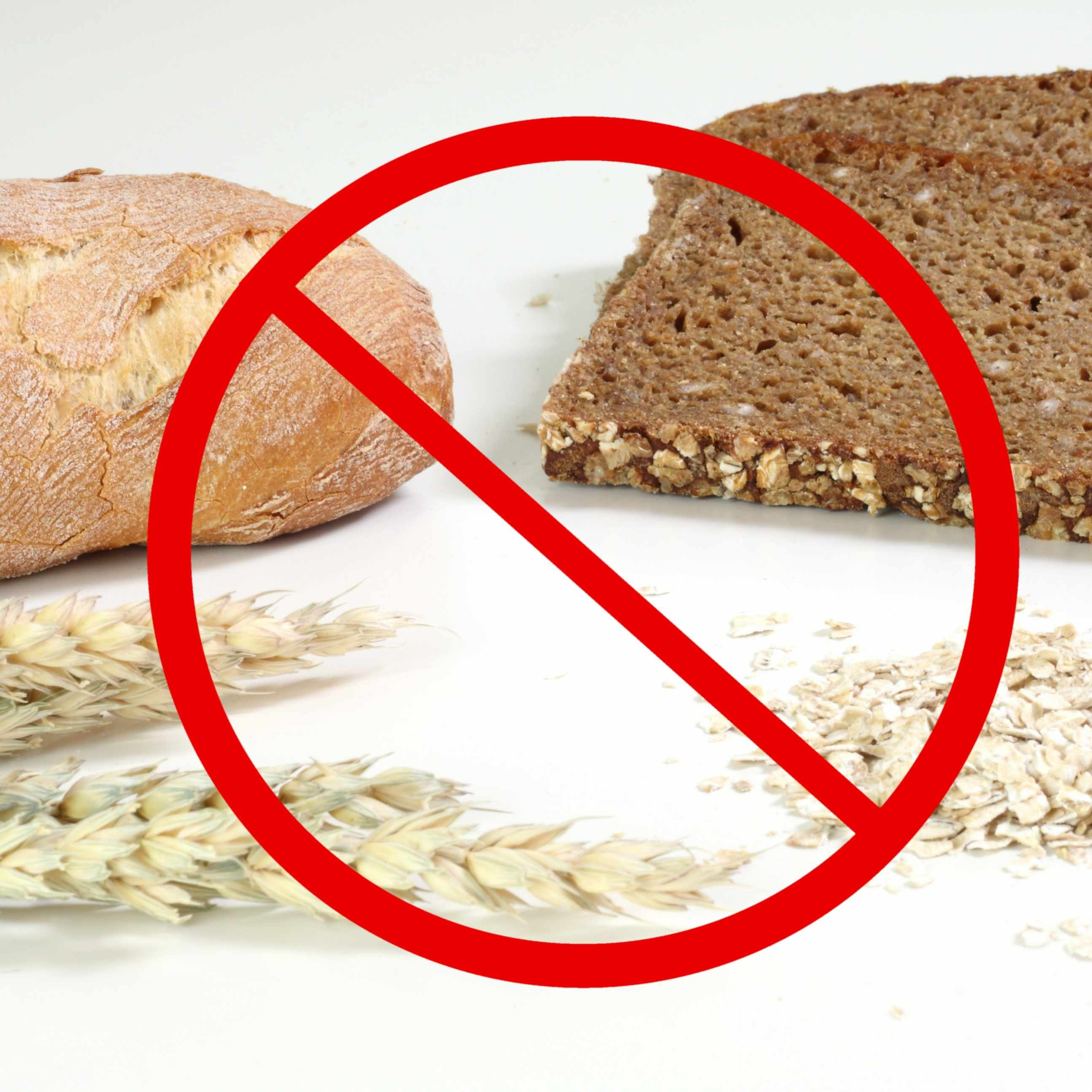 The no symbol surrounding a grouping of wheat grain, cereal and bread