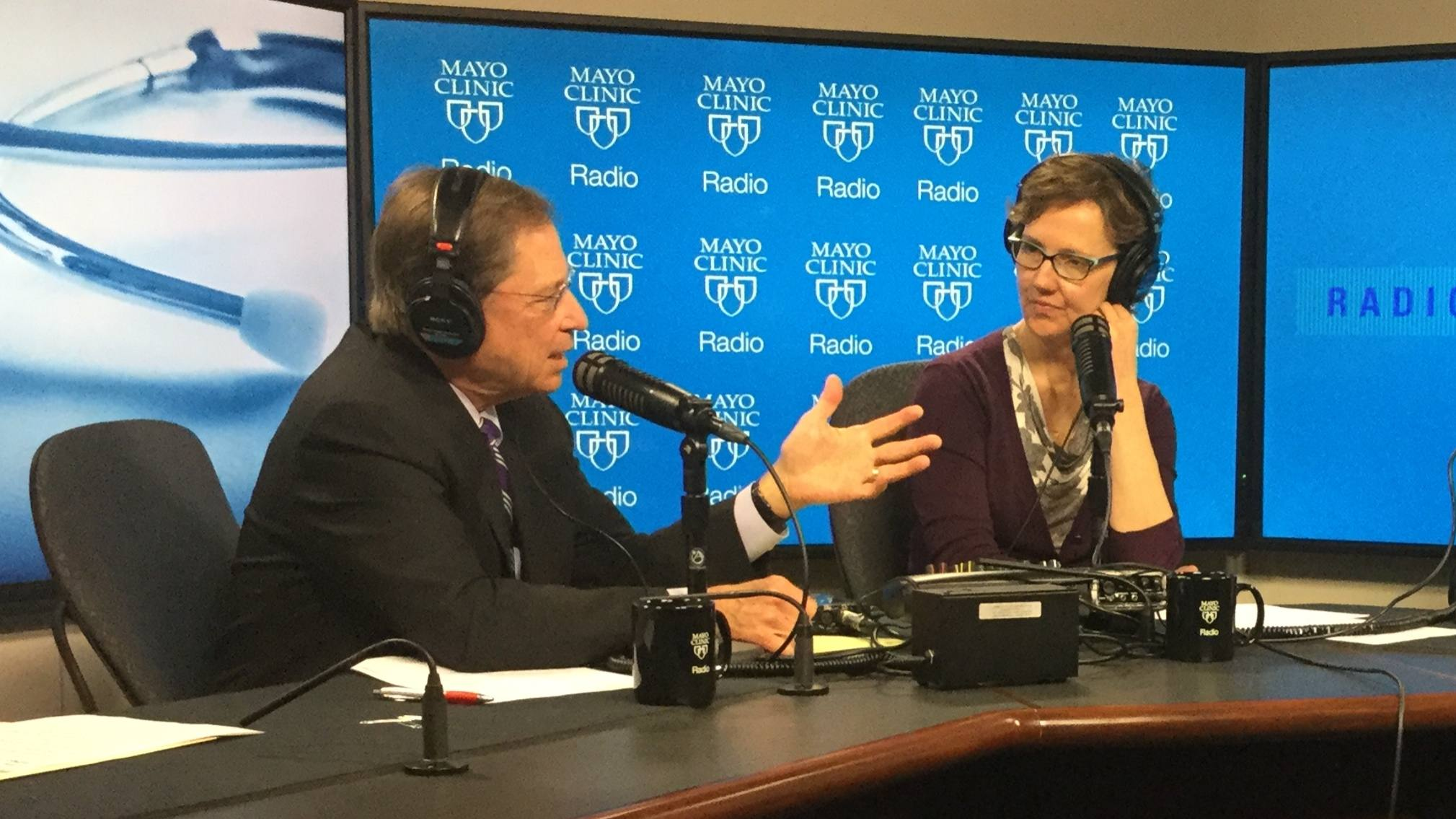 Dr. Tom Shives and Tracy McCray on the Mayo Clinic Radio set
