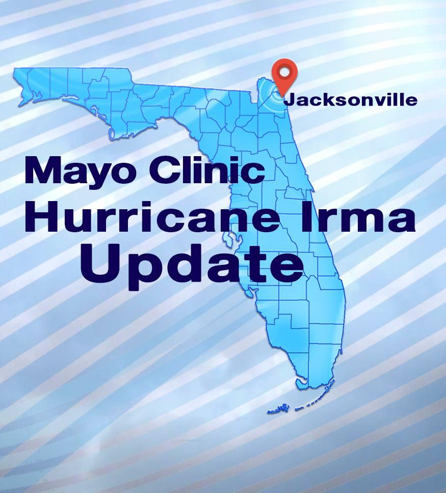 Hurricane Irma News Update Graphic with Florida map and Jacksonville locator