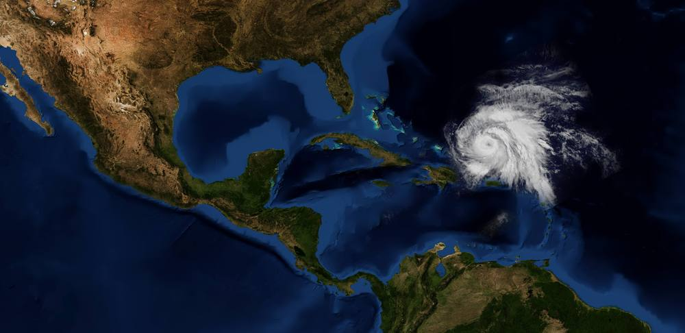 Space view of Hurricane Maria and Mexico