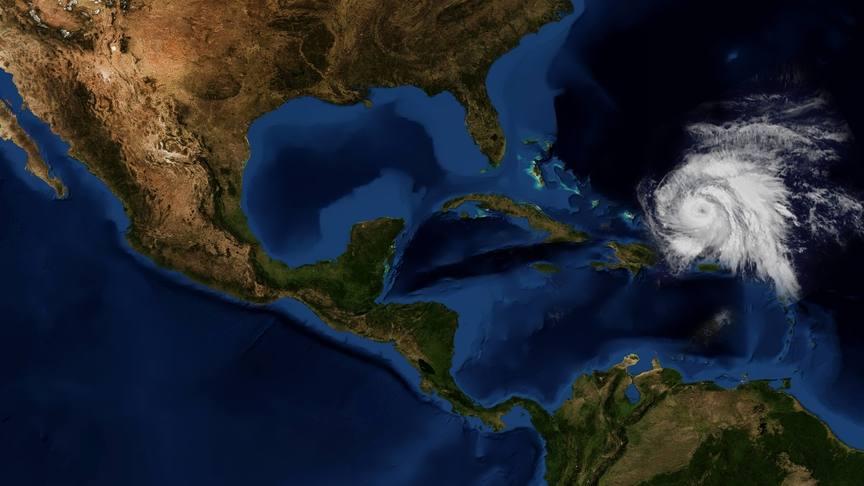 Vista espacial del huracán María y de México