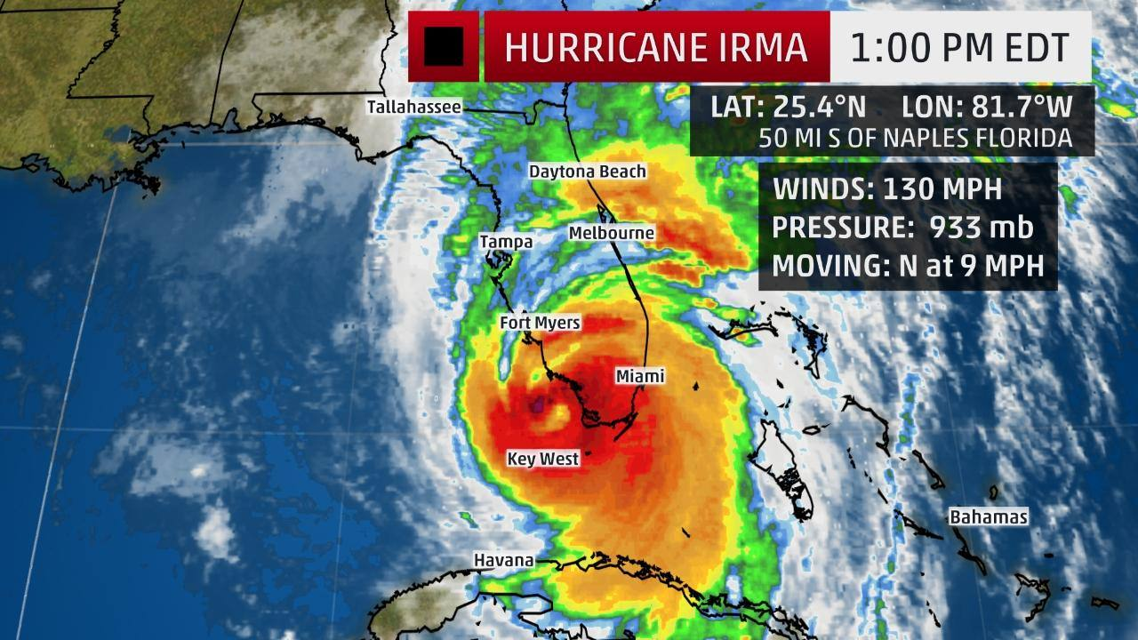 9/10 The Weather Channel image 1 pm EDT of Hurricane Irma