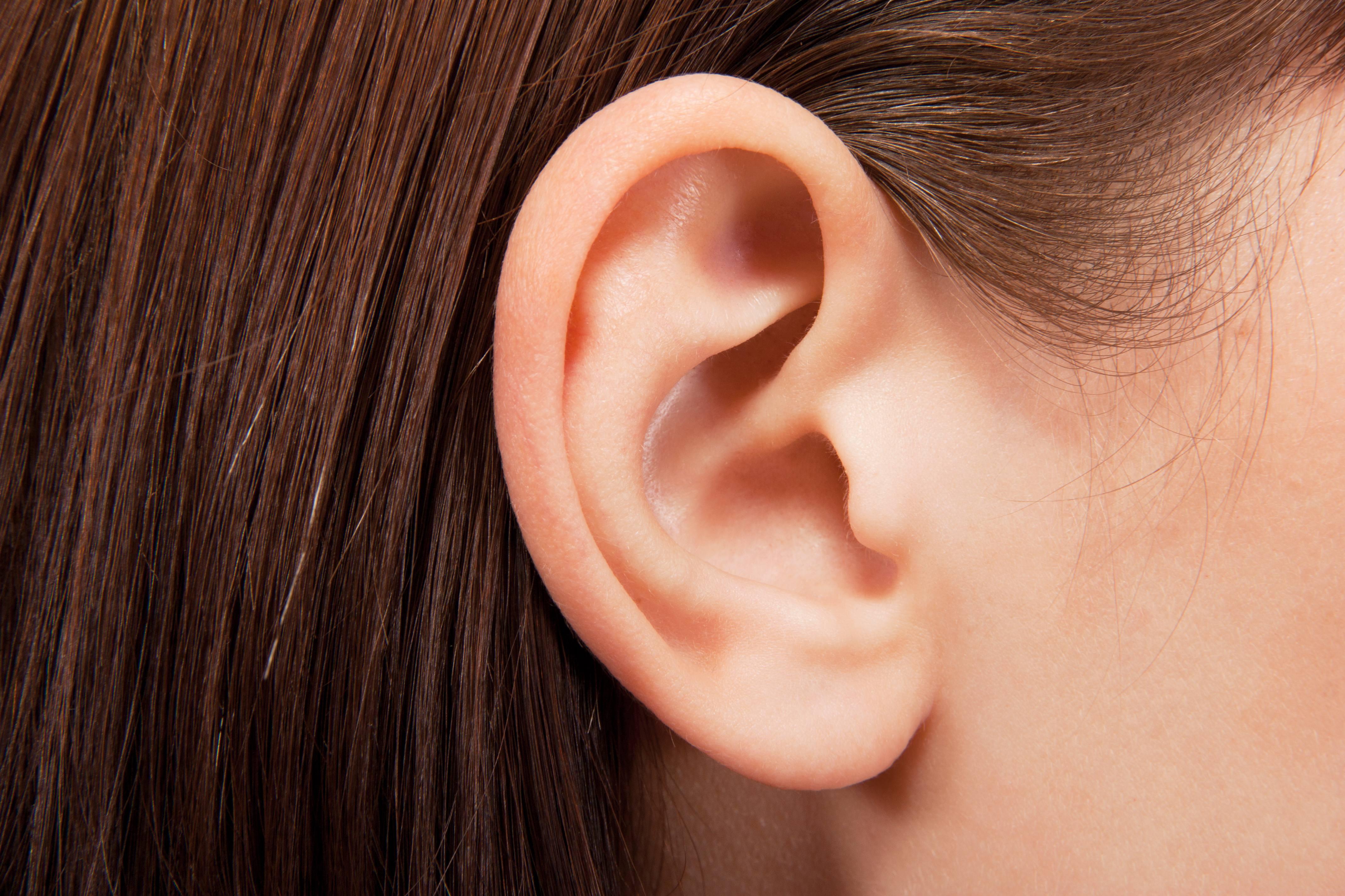 a closeup of a young girl's ear